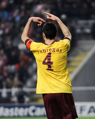 BRAGA, PORTUGAL - NOVEMBER 23:  Cesc Fabregas of Arsenal gestures during the UEFA Champions League Group H match between SC Braga and Arsenal at Estadio Municipal de Braga on November 23, 2010 in Braga, Portugal.  (Photo by David Ramos/Getty Images)