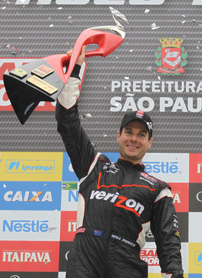 SAO PAULO, BRAZIL - MAY 02:  Will Power of Australia driver of the #12 Verizon Team Penske Dallara Honda celebrates winning the Itaipava Sao Paulo Indy 300  on May 2, 2011 in Sao Paulo, Brazil.  (Photo by Nick Laham/Getty Images)