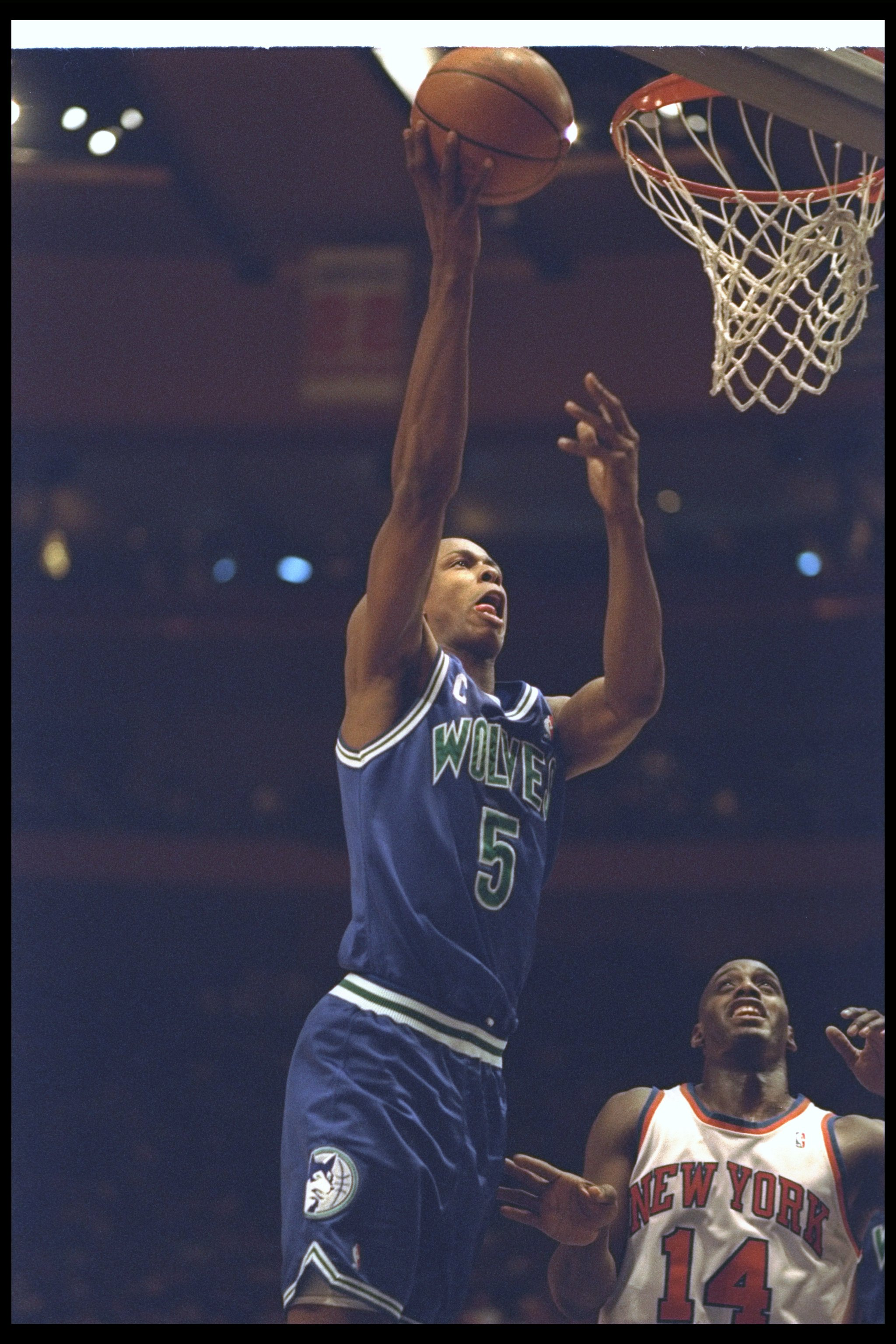 Guard Doug West of the Minnesota Timberwolves goes up for two during a game against the New York Knicks at Madison Square Garden in New York City, New York.
