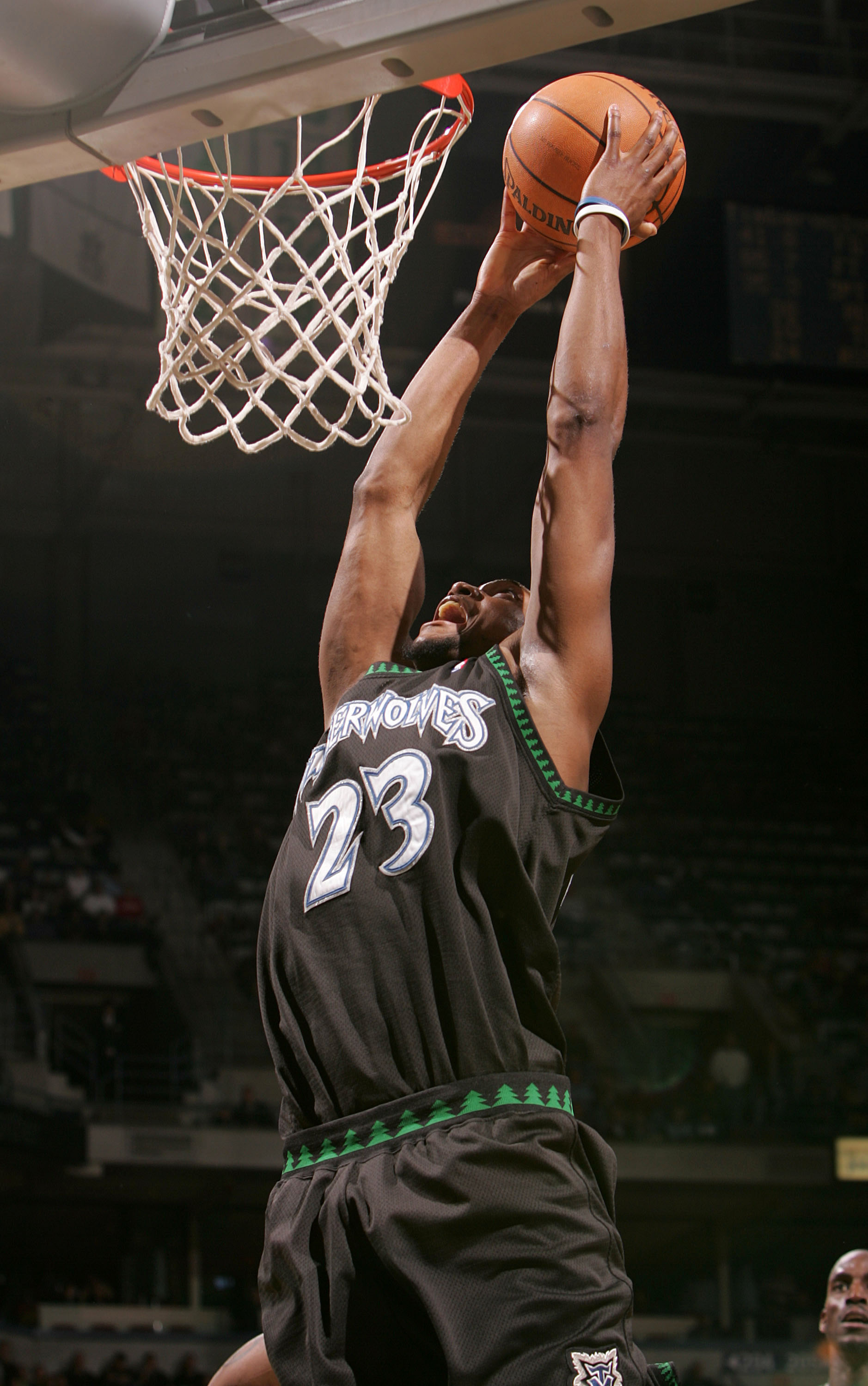 MILWAUKEE, WI - FEBRUARY 1:  Trenton Hassell #23 of the Minnesota Timberwolves slams the ball against the Milwaukee Bucks on February 1, 2005 at Bradley Center in Milwaukee, Wisconsin. The Bucks defeated the Timberwolves 91-86.  NOTE TO USER: User express