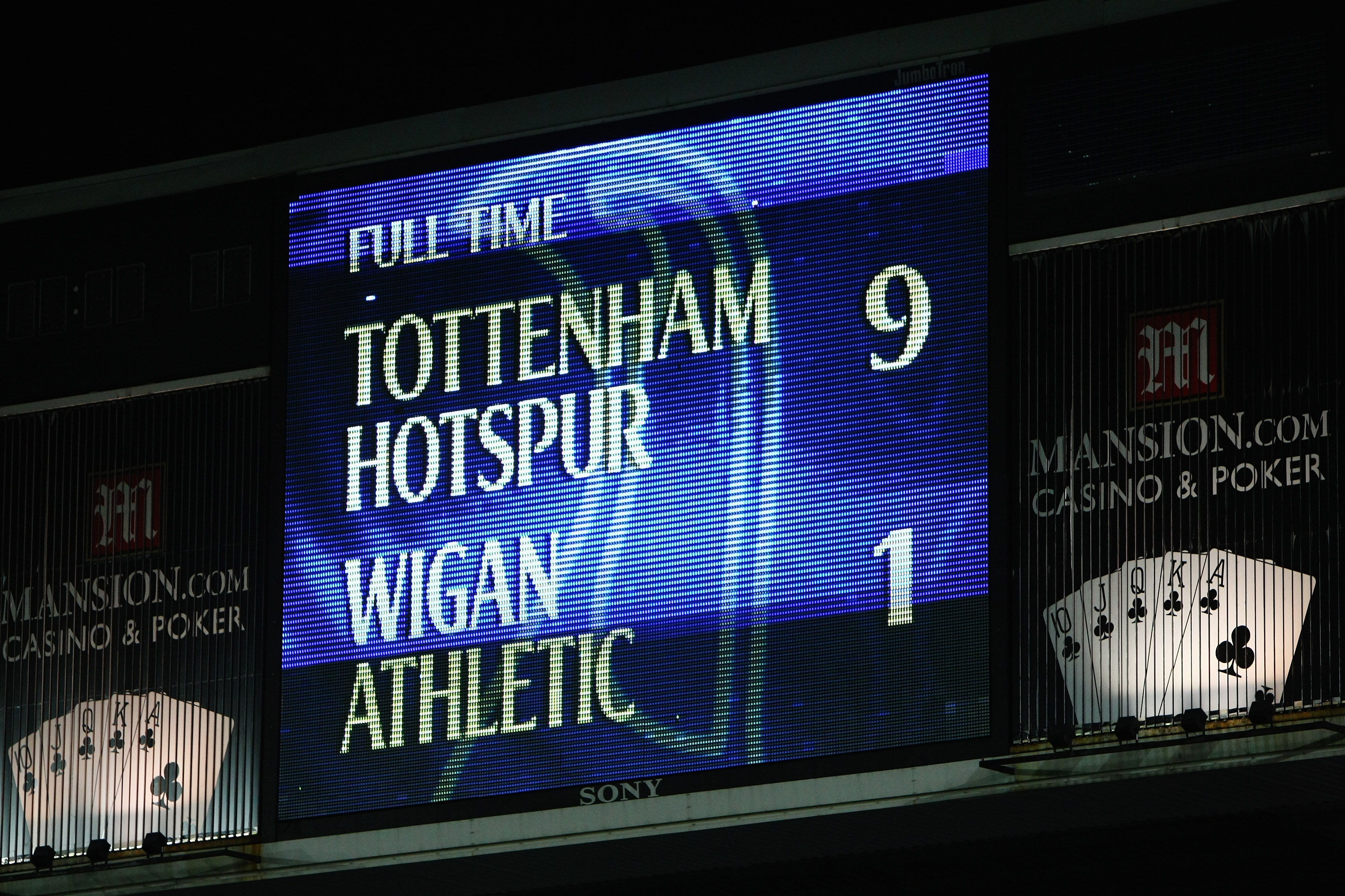 LONDON, ENGLAND - NOVEMBER 22:  The scoreboard shows the 9-1 scoreline after the Barclays Premier League match between Tottenham Hotspur and Wigan Athletic at White Hart Lane on November 22, 2009 in London, England.  (Photo by Clive Rose/Getty Images)