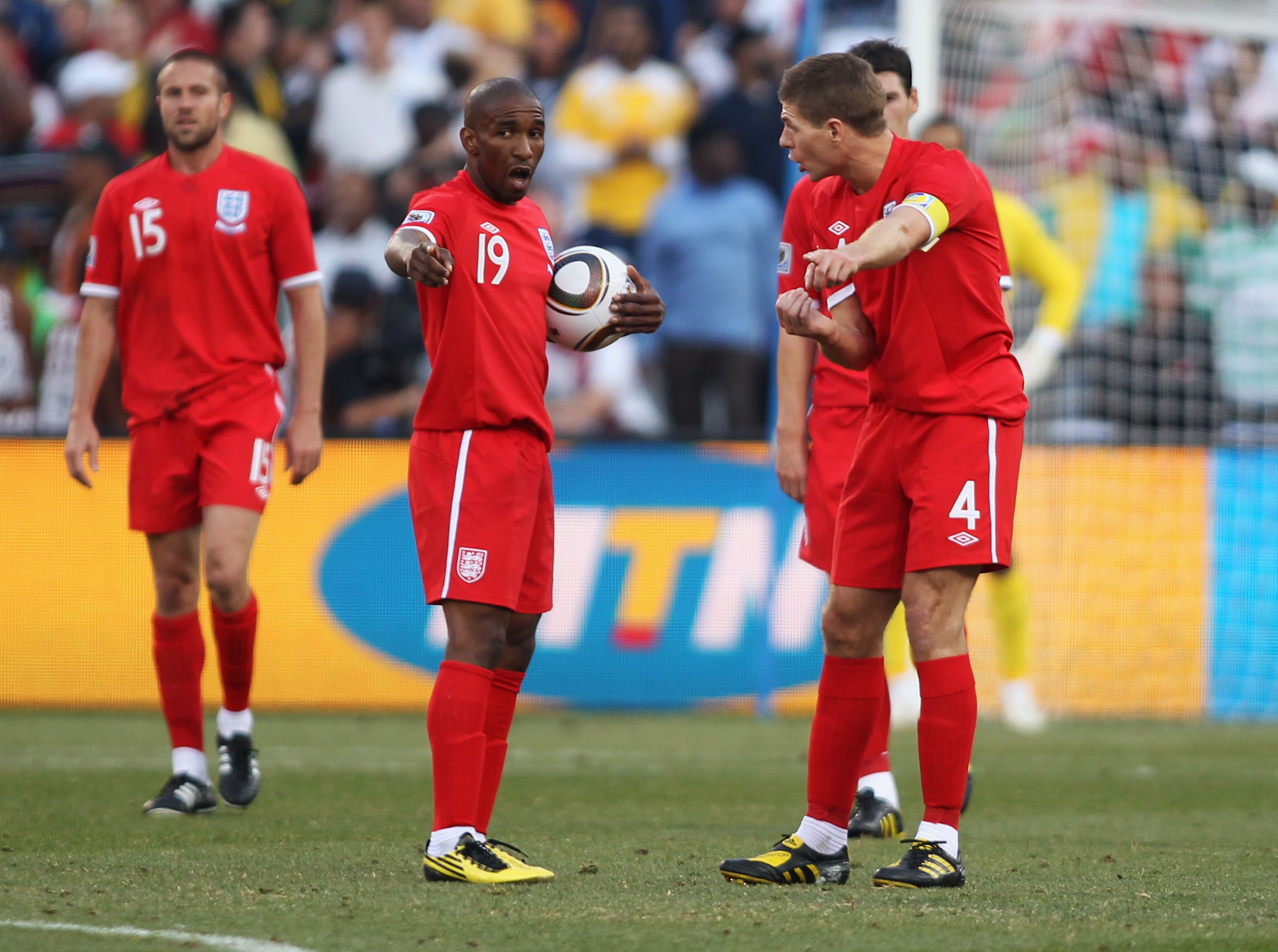 BLOEMFONTEIN, SOUTH AFRICA - JUNE 27:  Steven Gerrard and Jermain Defoe of England argue during the 2010 FIFA World Cup South Africa Round of Sixteen match between Germany and England at Free State Stadium on June 27, 2010 in Bloemfontein, South Africa.