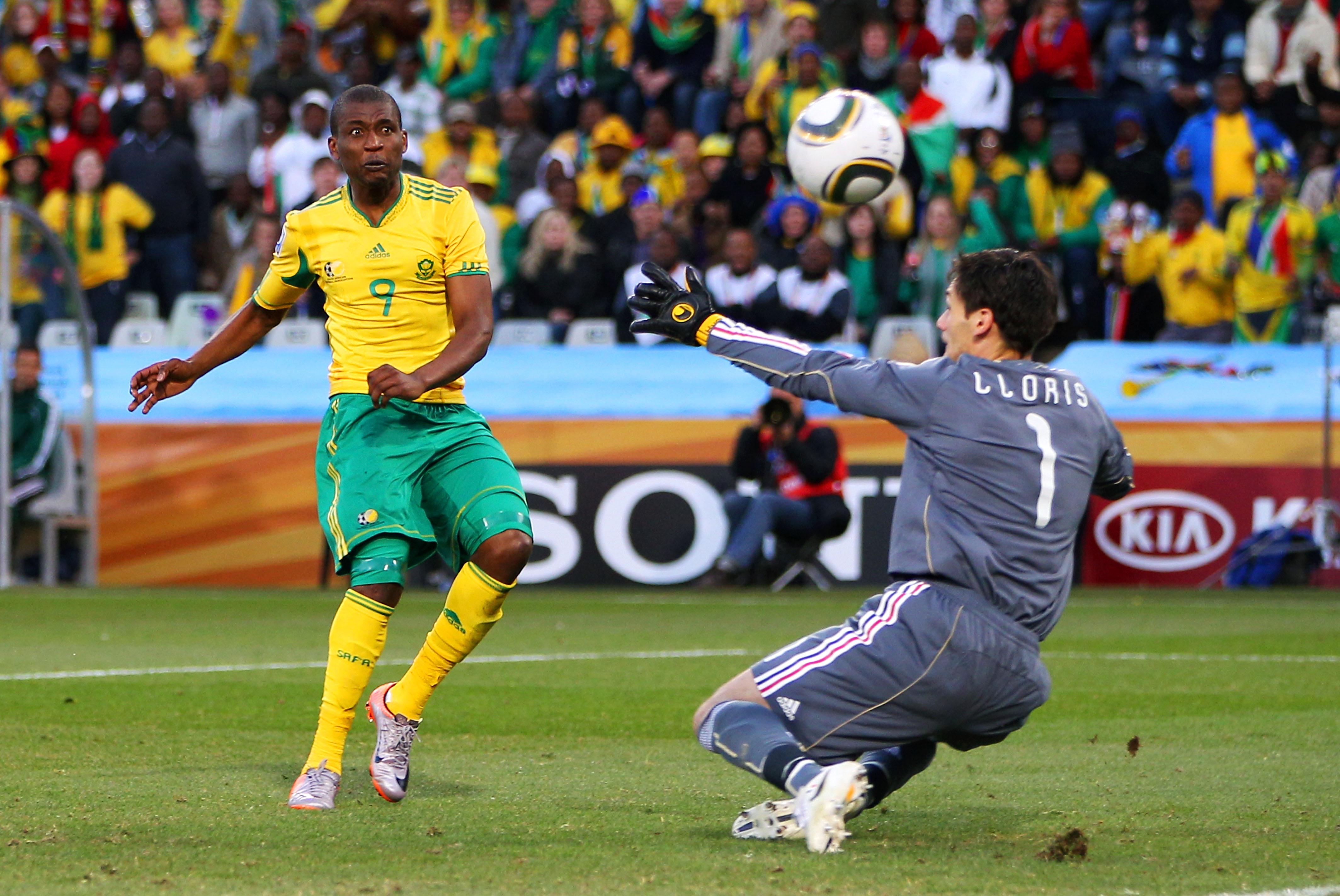 BLOEMFONTEIN, SOUTH AFRICA - JUNE 22: Katlego Mphela of South Africa shoots at goal during the 2010 FIFA World Cup South Africa Group A match between France and South Africa at the Free State Stadium on June 22, 2010 in Mangaung/Bloemfontein, South Africa