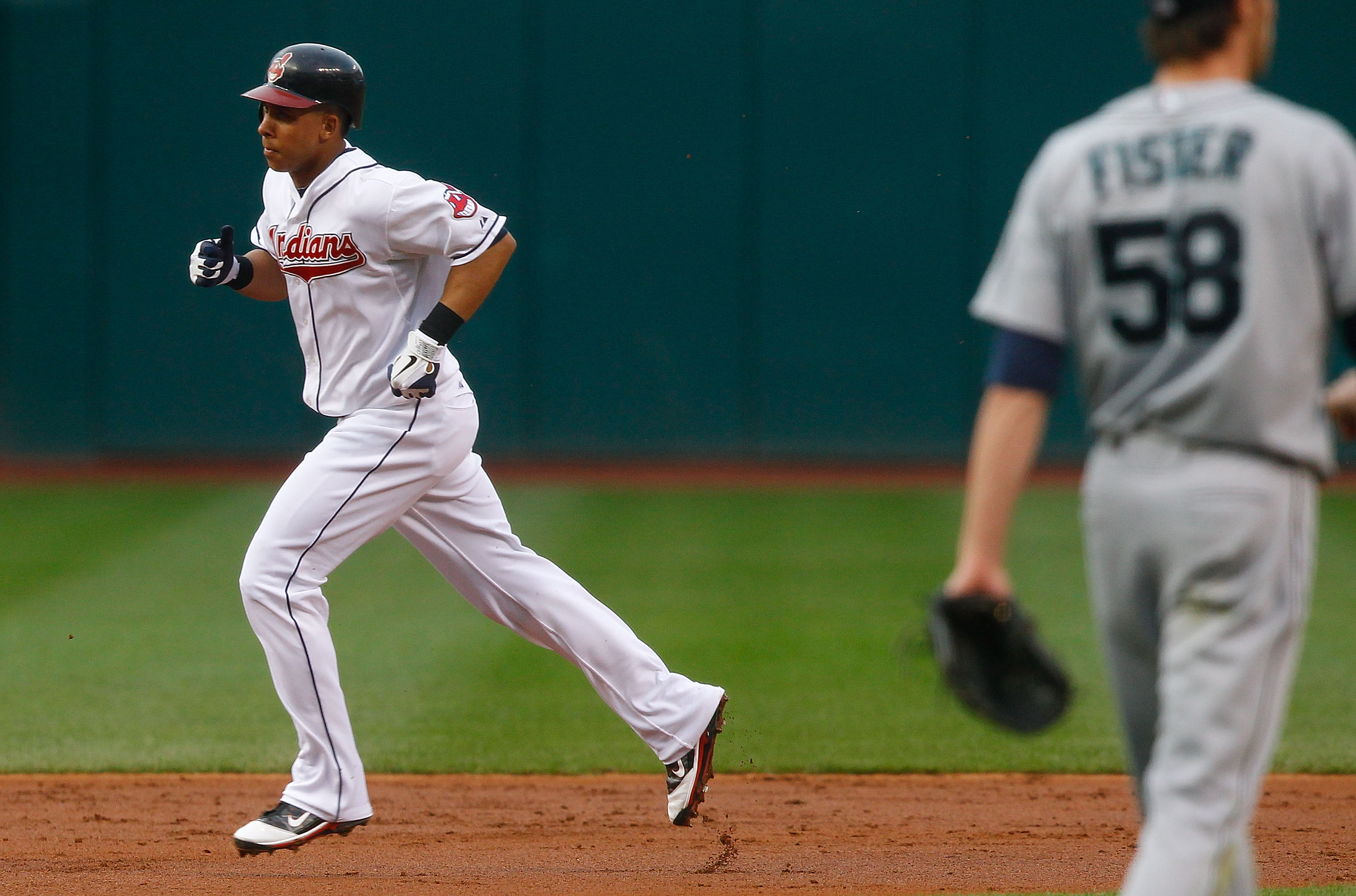 CLEVELAND - MAY 13:  Michael Brantley #23 of the Cleveland Indians trots past second base after hitting a solo home run off of Doug Fister #58 of the Seattle Mariners during the game on May 13, 2011 at Progressive Field in Cleveland, Ohio.  (Photo by Jare