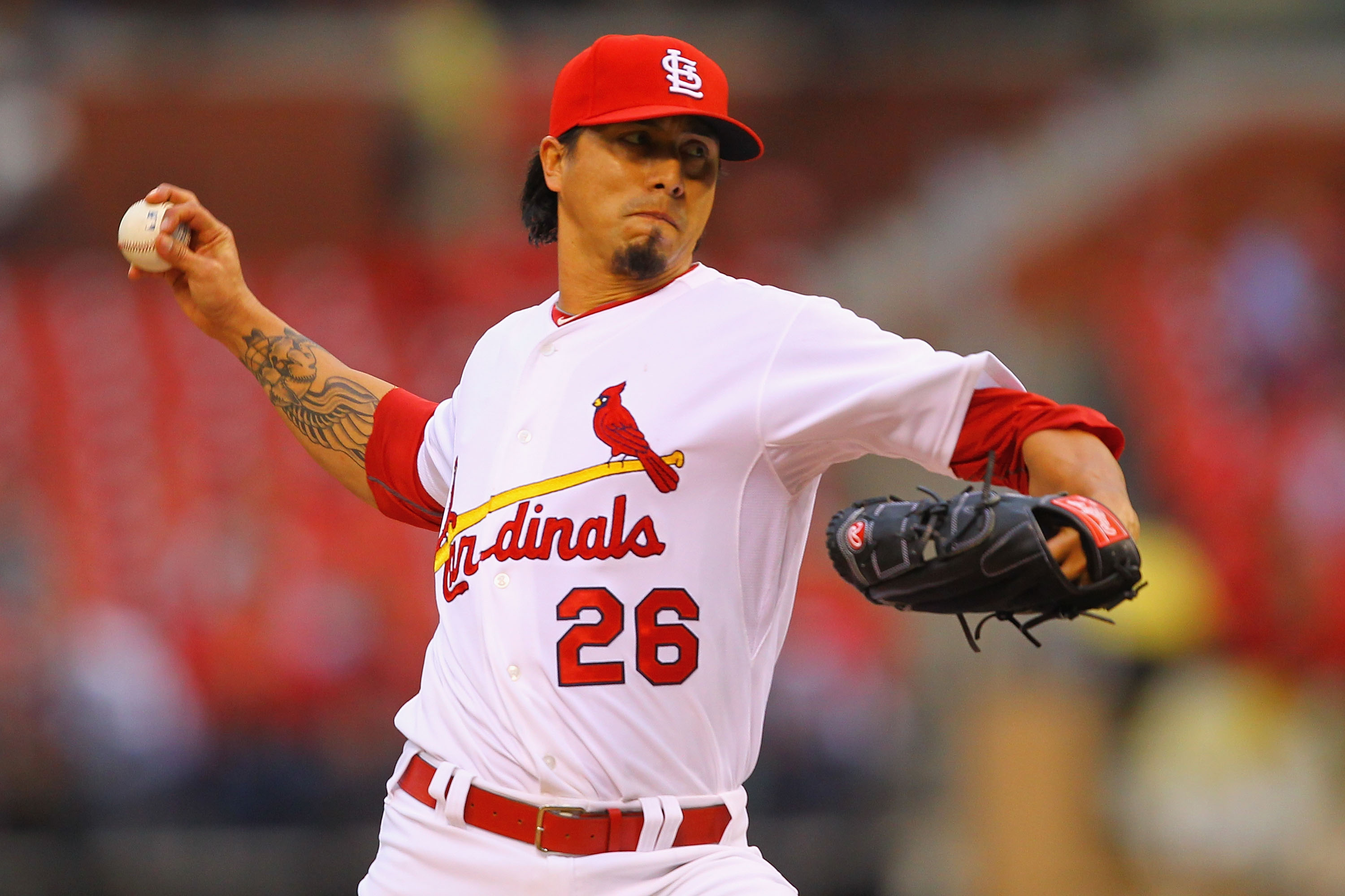ST. LOUIS, MO - MAY 18: Starter Kyle Lohse #26 of the St.Louis Cardinals pitches against the Houston Astros at Busch Stadium on May 18, 2011 in St. Louis, Missouri.  (Photo by Dilip Vishwanat/Getty Images)
