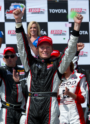 LONG BEACH, CA - APRIL 17:  Mike Conway of England, driver of the #27 Andretti Autosport Dallara Honda, celebrates after winning the IndyCar Series Toyota Grand Prix of Long Beach on April 17, 2011 on the streets of Long Beach, California.  (Photo by Robe
