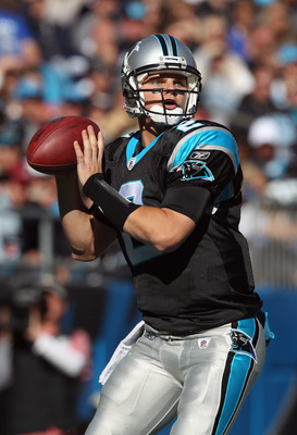 CHARLOTTE, NC - NOVEMBER 07:  Jimmy Clausen #2 of the Carolina Panthers against the New Orleans Saints during their game at Bank of America Stadium on November 7, 2010 in Charlotte, North Carolina.  (Photo by Streeter Lecka/Getty Images)