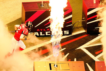 ATLANTA, GA - JANUARY 15:  Matt Ryan #2 of the Atlanta Falcons runs onto the field during player introductions against the Green Bay Packers during their 2011 NFC divisional playoff game at Georgia Dome on January 15, 2011 in Atlanta, Georgia.  (Photo by