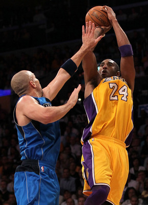 LOS ANGELES, CA - MAY 04:  Kobe Bryant #24 of the Los Angeles Lakers shoots over Jason Kidd #2 of the Dallas Mavericks in the second quarter in Game Two of the Western Conference Semifinals in the 2011 NBA Playoffs at Staples Center on May 4, 2011 in Los