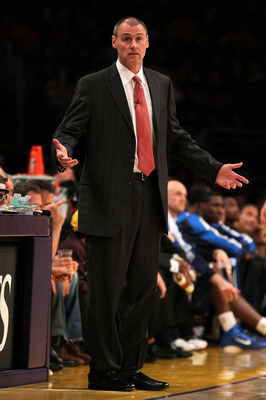LOS ANGELES, CA - MAY 04:  Head coach Rick Carlisle of the Dallas Mavericks reacts in the first half while taking on the Los Angeles Lakers in Game Two of the Western Conference Semifinals in the 2011 NBA Playoffs at Staples Center on May 4, 2011 in Los A