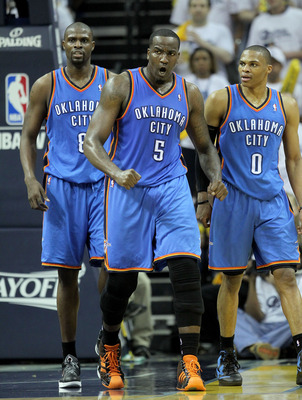 MEMPHIS, TN - MAY 09:  Kendrick Perkins #5 of the Oklahoma City Thunder celebrates during the game against the Memphis Grizzlies in Game Four of the Western Conference Semifinals in the 2011 NBA Playoffs at FedExForum on May 9, 2011 in Memphis, Tennessee.