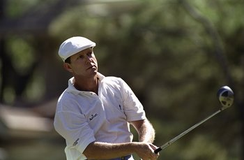 18 Apr 1999: Payne Stewart watches the ball after his swing during the MCI Heritage Classic at the Harbour Town Golf Links in Hilton Head, South Carolina.