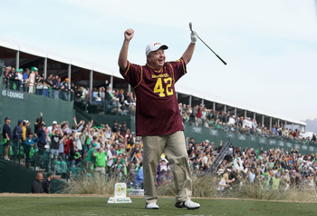 SCOTTSDALE, AZ - FEBRUARY 05:  Billy Mayfair, wearing a #42 Pat Tillman ASU Sun Devils jersey, celebrates after his tee shot on the 16th hole during the second round of the Waste Management Phoenix Open at TPC Scottsdale on February 5, 2011 in Scottsdale,