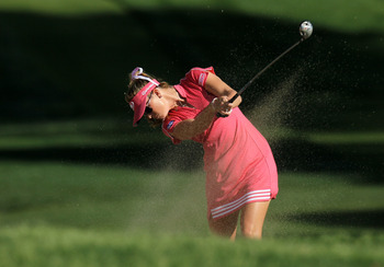 RANCHO MIRAGE,CA - APRIL 2:  Paula Creamer hits her second shot on the second hole during the third round of the Kraft Nabisco Championship at Mission Hills Country Club on April 2, 2011 in Rancho Mirage, California.  (Photo by Stephen Dunn/Getty Images)