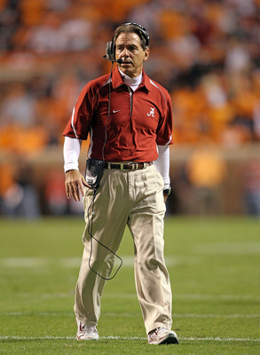 KNOXVILLE, TN - OCTOBER 23:  Nick Saban the Head Coach of the Alabama Crimson Tide watches his team during the SEC game against the Tennessee Volunteers at Neyland Stadium on October 23, 2010 in Knoxville, Tennessee.  (Photo by Andy Lyons/Getty Images)