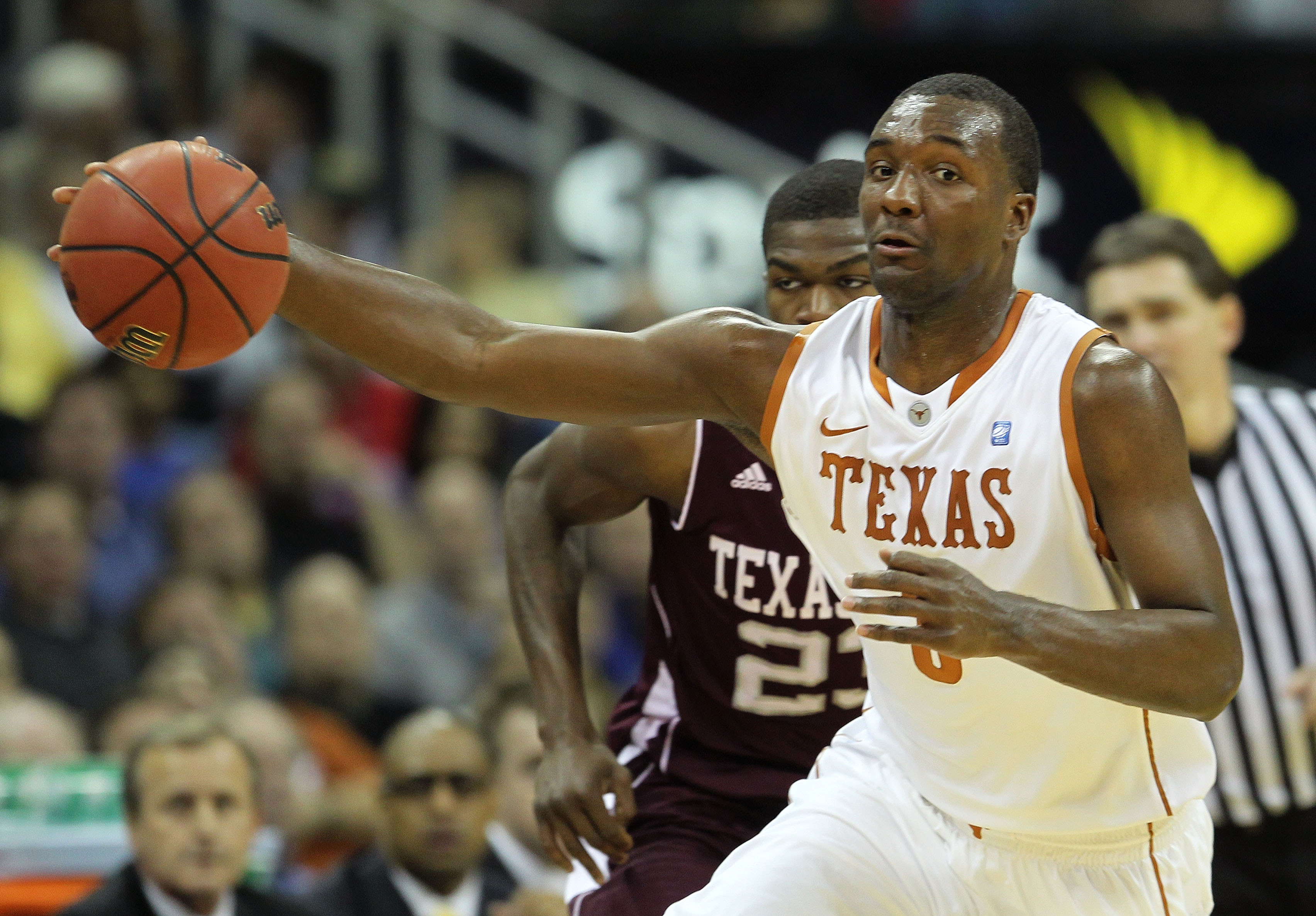 KANSAS CITY, MO - MARCH 11:  Jordan Hamilton #3 of the Texas Longhorns controls the ball during their semifinal game against the Texas A&M Aggies in the 2011 Phillips 66 Big 12 Men's Basketball Tournament at Sprint Center on March 11, 2011 in Kansas City,