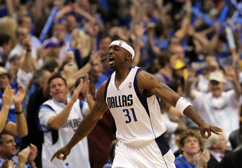 DALLAS, TX - MAY 08:  Guard Jason Terry #31 of the Dallas Mavericks reacts after a three-point shot against the Los Angeles Lakers in Game Four of the Western Conference Semifinals during the 2011 NBA Playoffs on May 8, 2011 at American Airlines Center in