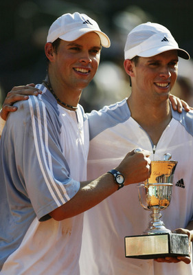 Bob and Mike Bryan, after winning the 2003 Men's Doubles French Open