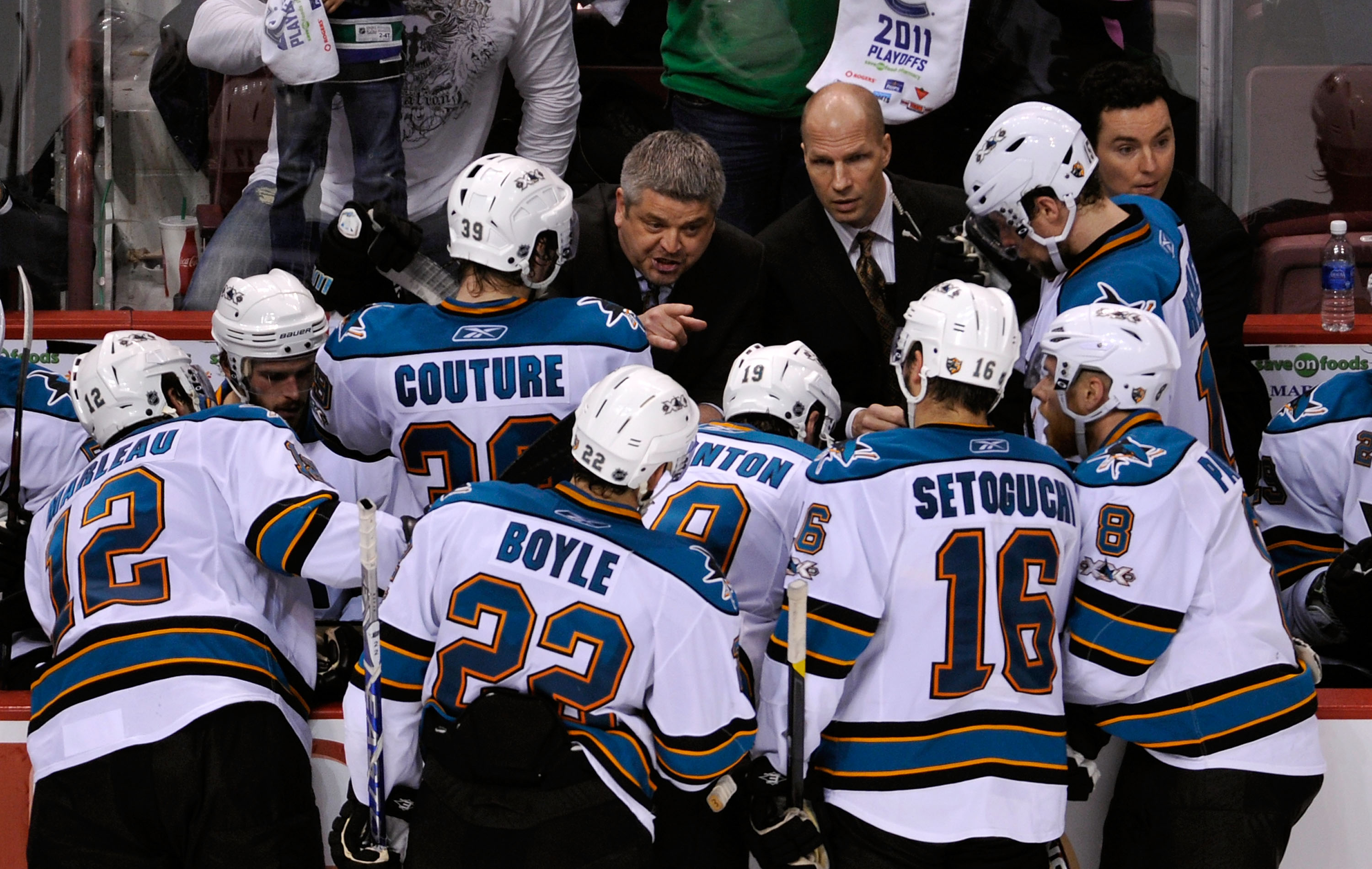 VANCOUVER, BC - MAY 15:  Head Coach Todd McLellan of the San Jose Sharks gives instructions to his players from the bench area in Game One of the Western Conference Finals against the Vancouver Canucks during the 2011 Stanley Cup Playoffs at Rogers Arena