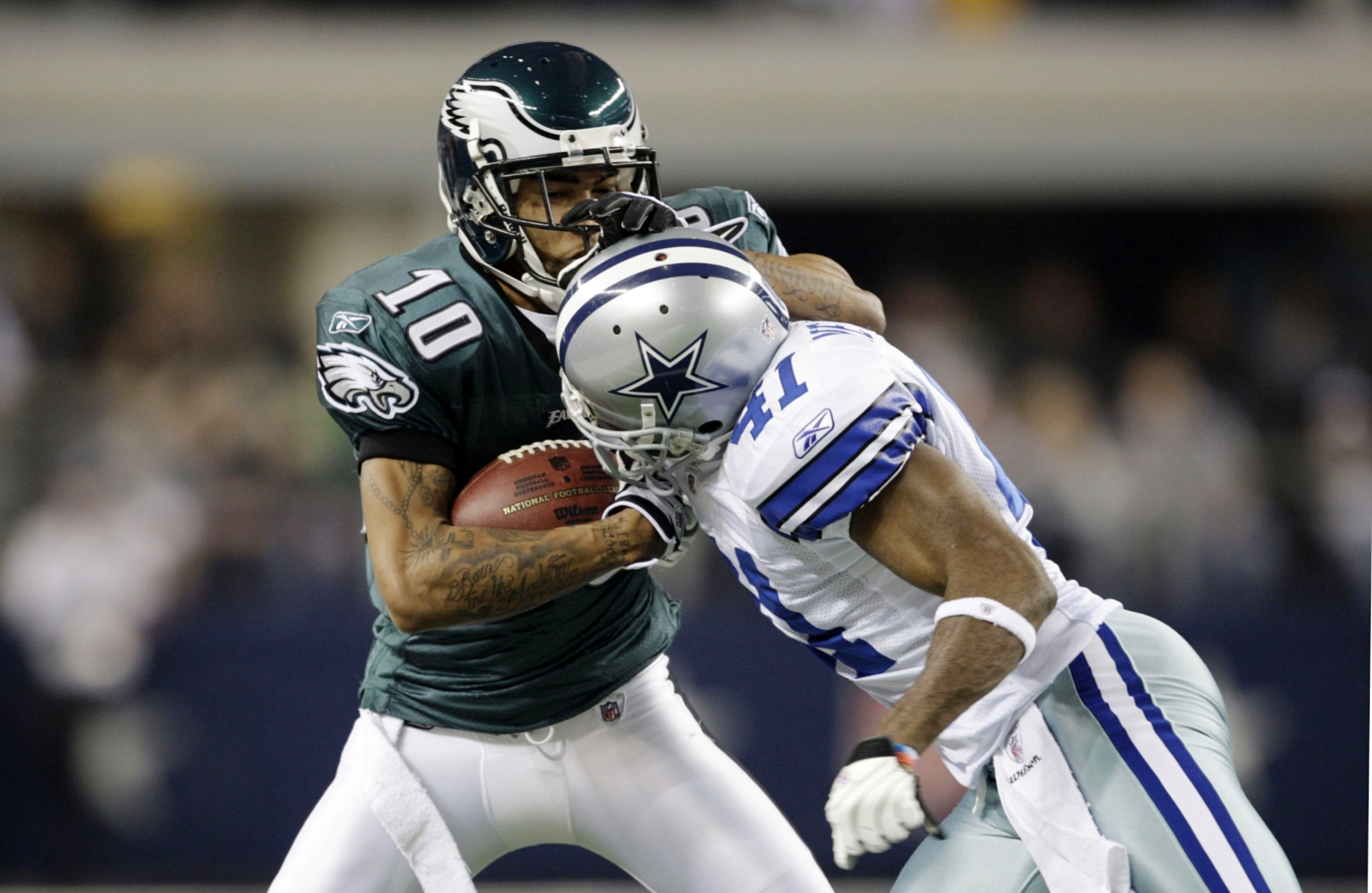 ARLINGTON, TX - JANUARY 9:  Wide receiver DeSean Jackson #10 of the Philadelphia Eagles attempts to make a move on Terence Newman #41 of the Dallas Cowboys in the second half during the 2010 NFC wild-card playoff game at Cowboys Stadium on January 9, 2010