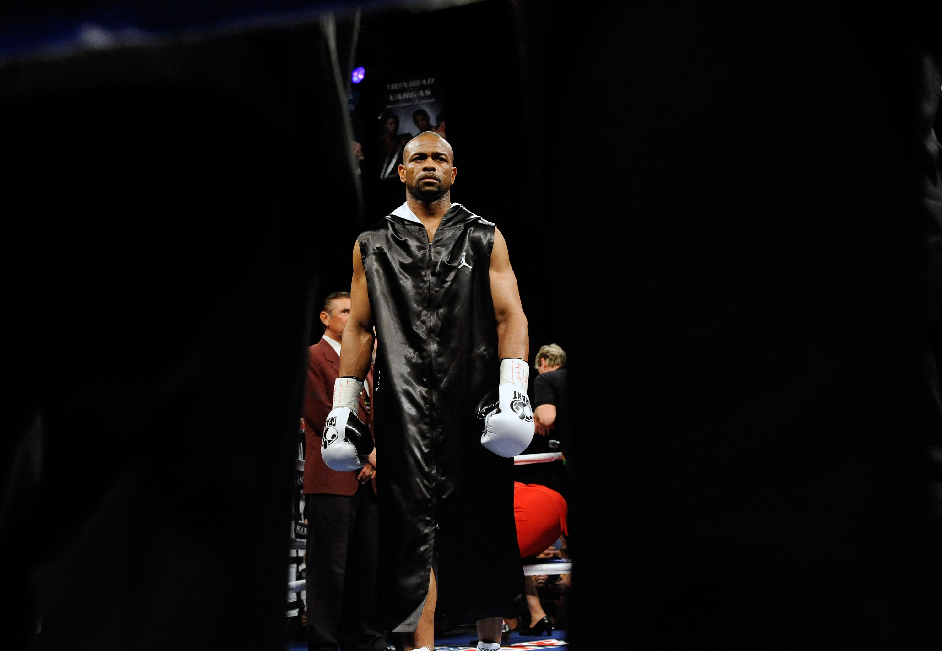 LAS VEGAS - APRIL 03:  Roy Jones Jr. appears in the ring before his light heavyweight bout against Bernard Hopkins at the Mandalay Bay Events Center April 3, 2010 in Las Vegas, Nevada. Hopkins won by unanimous decision.  (Photo by Ethan Miller/Getty Image