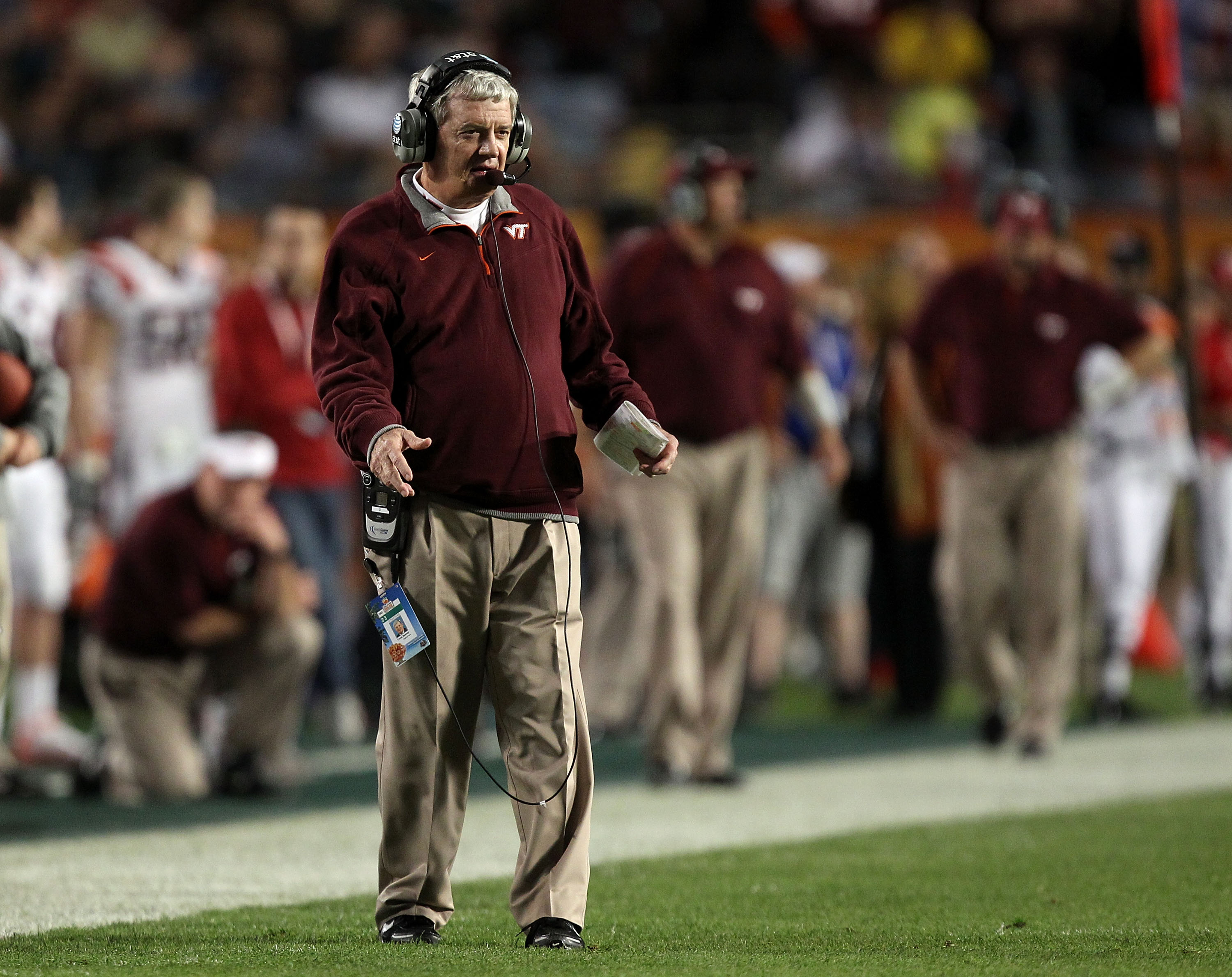 MIAMI, FL - JANUARY 03: Head coach Frank Beamer of the Virginia Tech Hokies looks on against the Stanford Cardinal during the 2011 Discover Orange Bowl at Sun Life Stadium on January 3, 2011 in Miami, Florida. Stanford won 40-12. (Photo by Streeter Lecka/