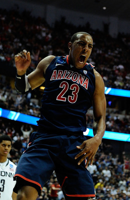 ANAHEIM, CA - MARCH 26:  Derrick Williams #23 of the Arizona Wildcats reacts after a dunk against of the Connecticut Huskies during the west regional final of the 2011 NCAA men's basketball tournament at the Honda Center on March 26, 2011 in Anaheim, Cali