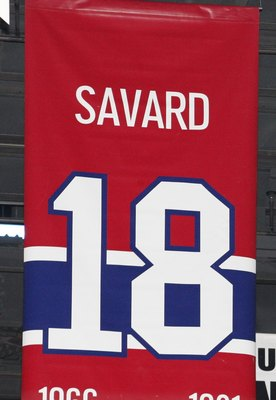 MONTREAL- APRIL 19:  A photo of the banners commemorating the retired jerseys of Serge Savard, Guy Lafleur and Larry Robinson hanging in the Bell Centre prior to Game Three of the Eastern Conference Quarterfinals between the Washington Capitals and Montre