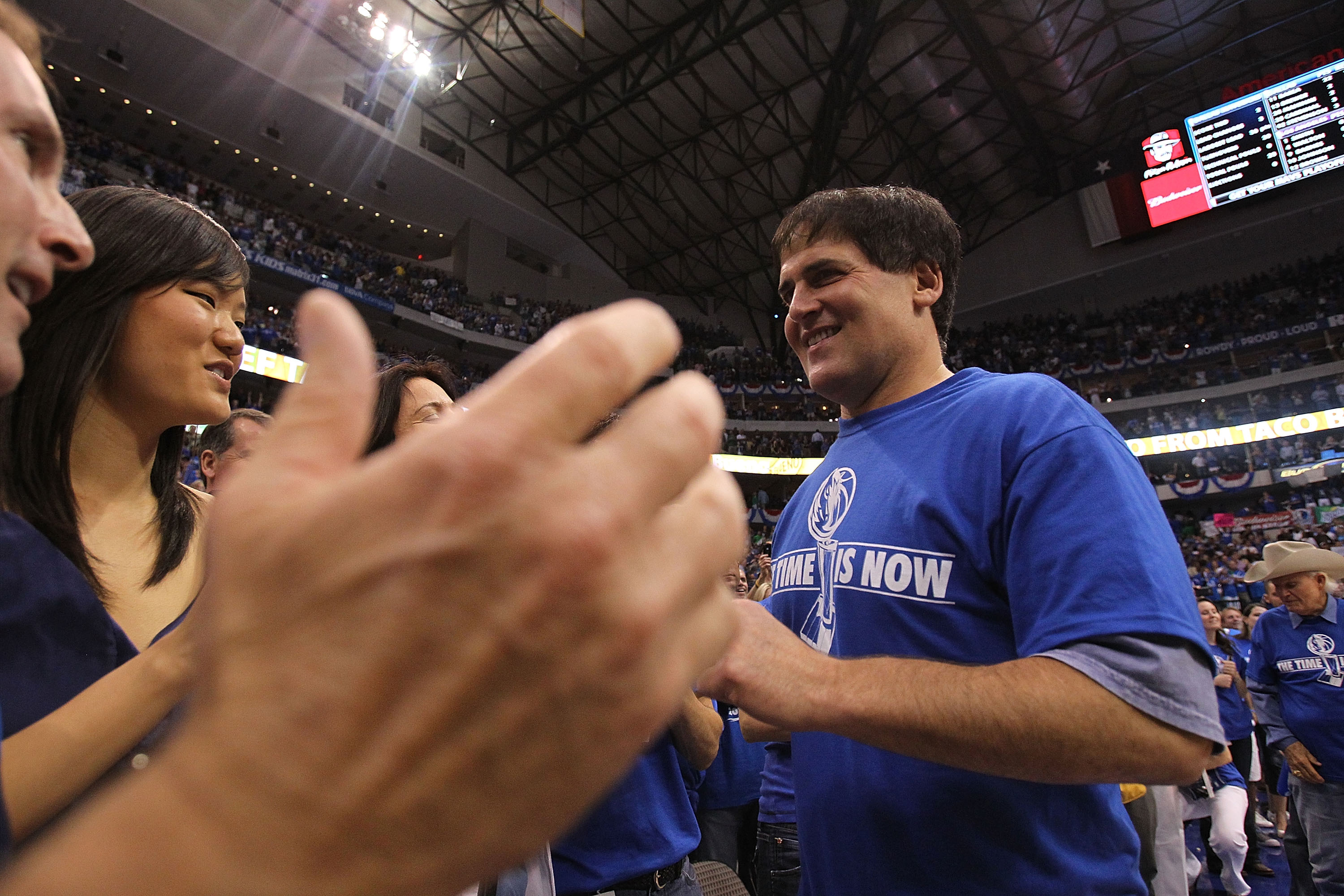 DALLAS, TX - MAY 08:  Owner Mark Cuban of the Dallas Mavericks celebrates with fans after beating the Los Angeles Lakers in Game Four of the Western Conference Semifinals during the 2011 NBA Playoffs on May 8, 2011 at American Airlines Center in Dallas, T