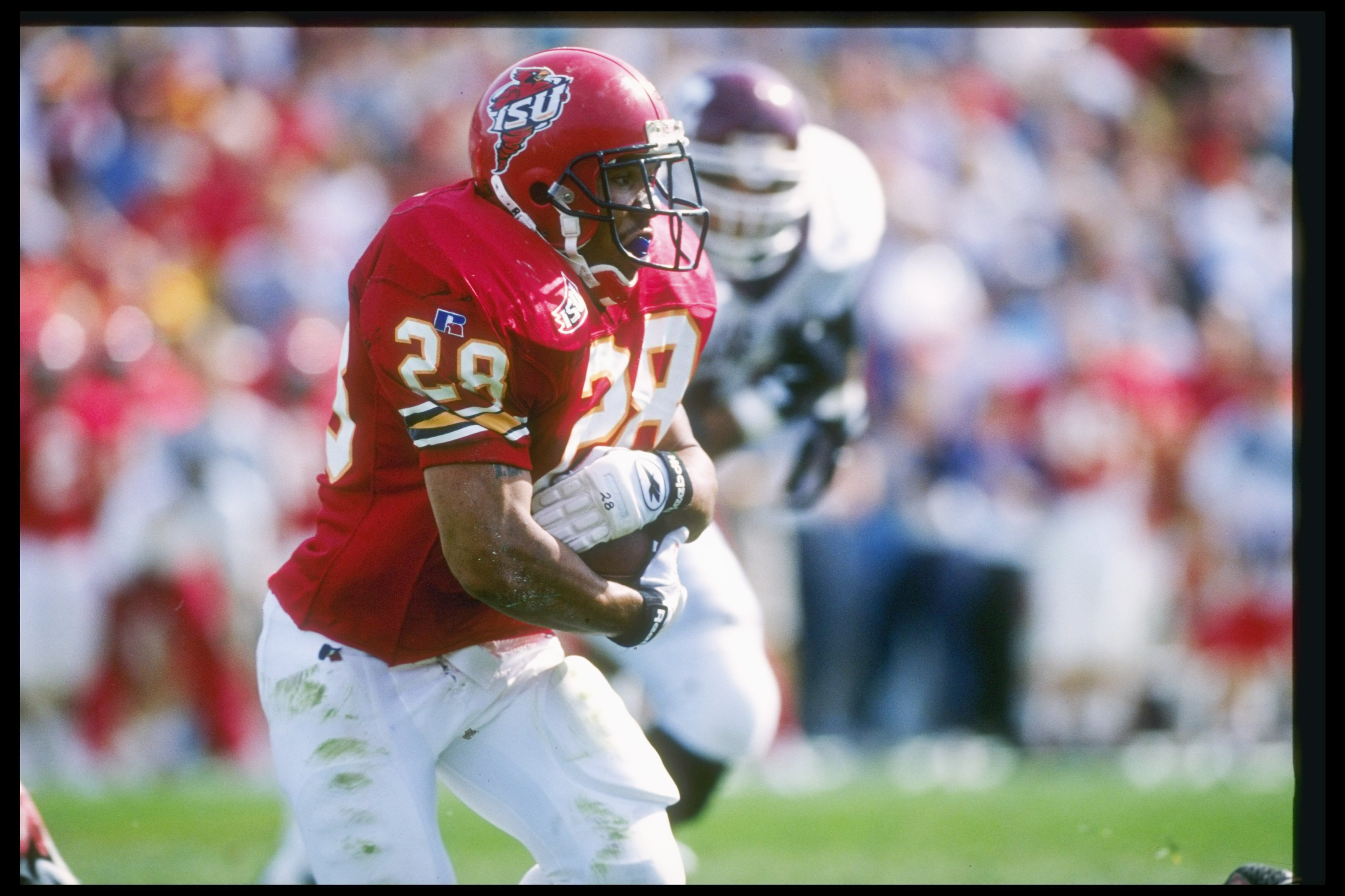 12 Oct 1996:  Tailback Troy Davis of the Iowa State Cyclones runs down the field during a game against the Texas A&M Aggies at Cyclone Statdium in Ames, Iowa.  Texas A&M won the game 24-21. Mandatory Credit: Stephen Dunn  /Allsport