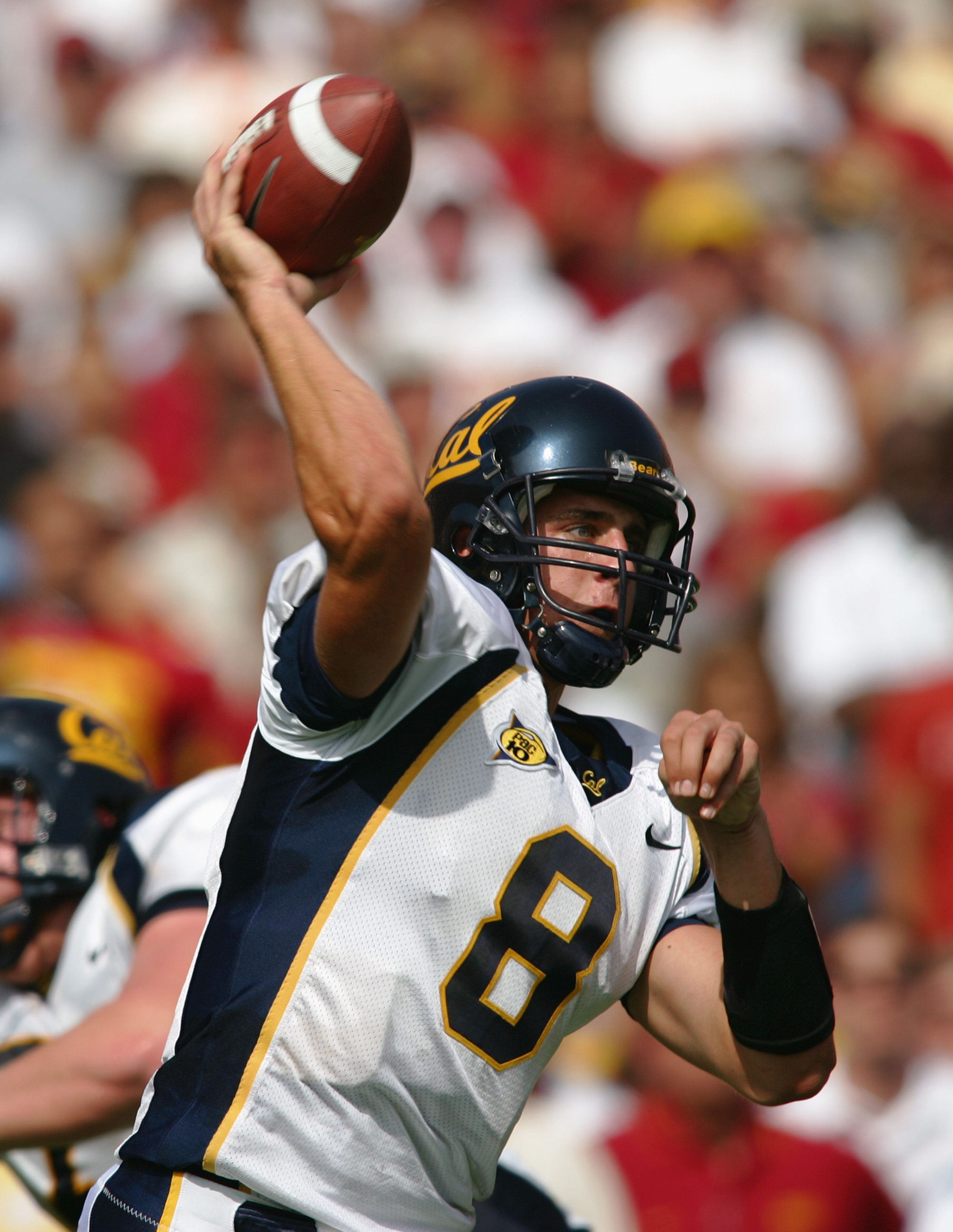 LOS ANGELES - OCTOBER 9:  Aaron Rodgers #8 of the California Golden Bears passes during the game against the USC Trojans on October 9, 2004 at Los Angeles Memorial Coliseum in Los Angeles, California.  The Trojans defeated the Golden Bears 23-17. (Photo b