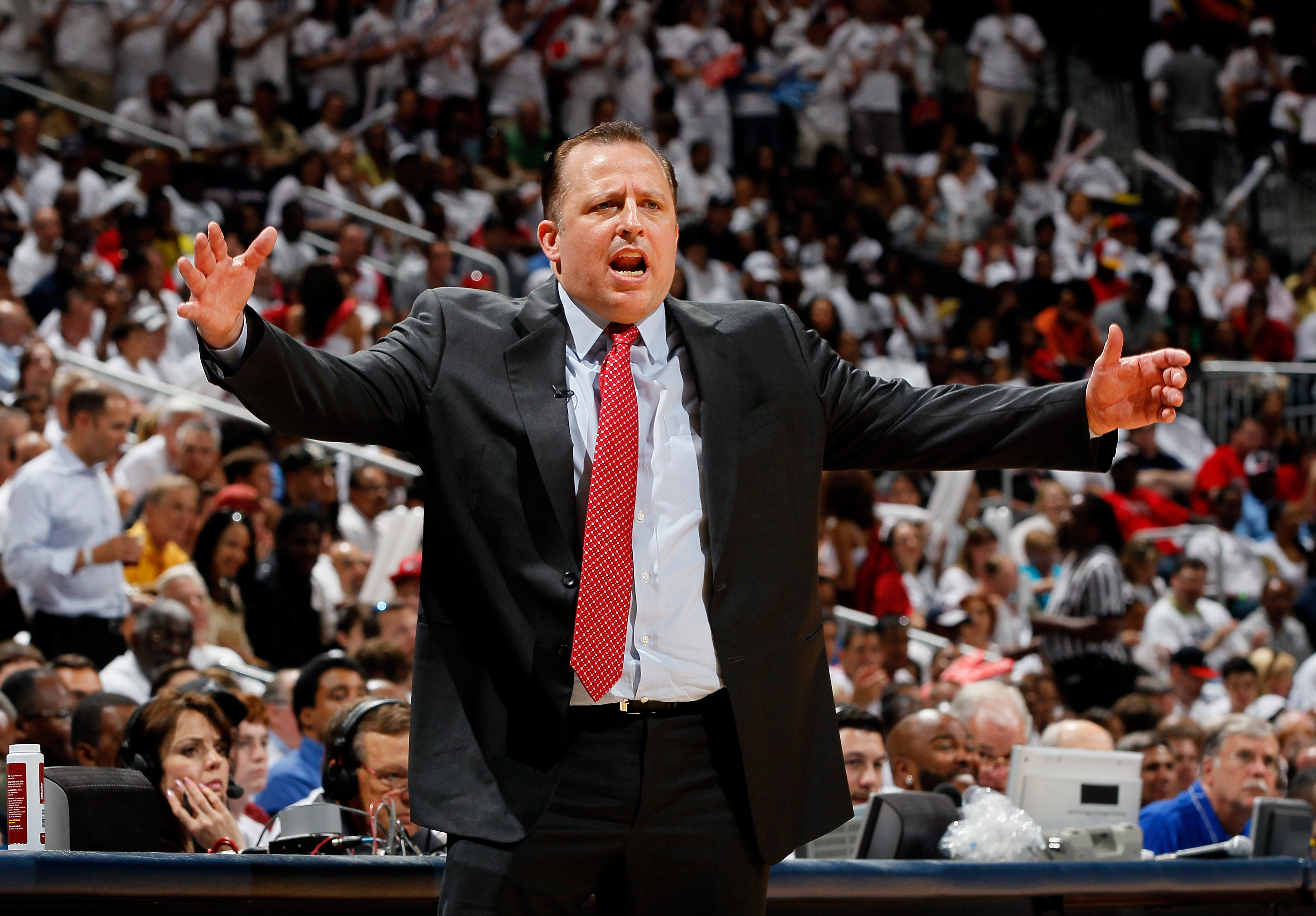 ATLANTA, GA - MAY 12:  Tom Thibodeau of the Chicago Bulls argues a call against the Atlanta Hawks in Game Six of the Eastern Conference Semifinals in the 2011 NBA Playoffs at Phillips Arena on May 12, 2011 in Atlanta, Georgia.  NOTE TO USER: User expressl