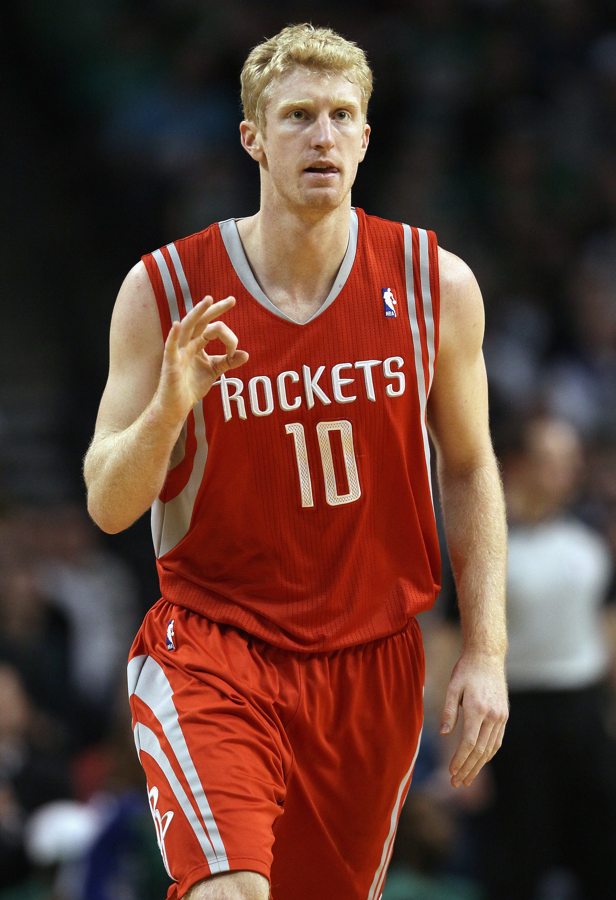 BOSTON, MA - JANUARY 10:  Chase Budinger #10 of the Houston Rockets celebrates his three point shot in the first half against the Boston Celtics on January 10, 2011 at the TD Garden in Boston, Massachusetts.  NOTE TO USER: User expressly acknowledges and