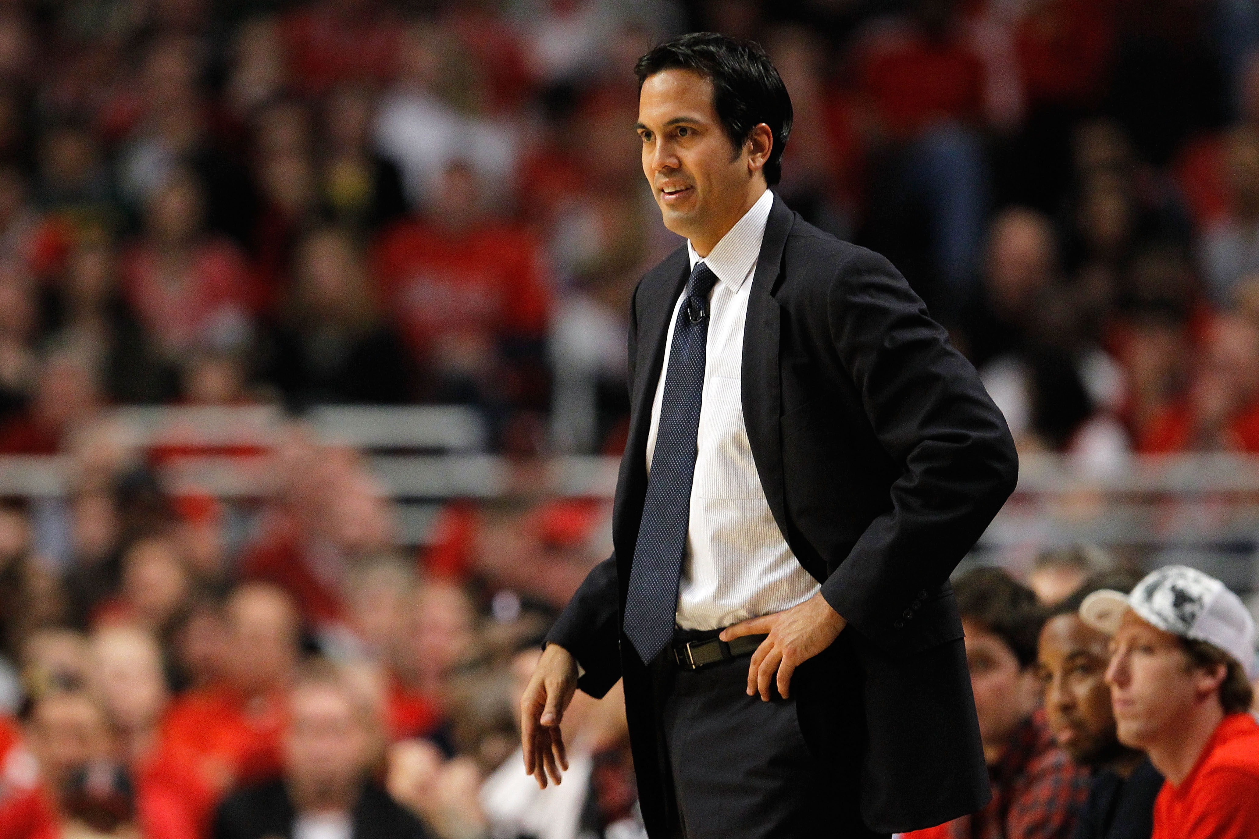 CHICAGO, IL - MAY 15:  Head coach Erik Spoelstra of the Miami Heat looks on against the Chicago Bulls in Game One of the Eastern Conference Finals during the 2011 NBA Playoffs on May 15, 2011 at the United Center in Chicago, Illinois. NOTE TO USER: User e