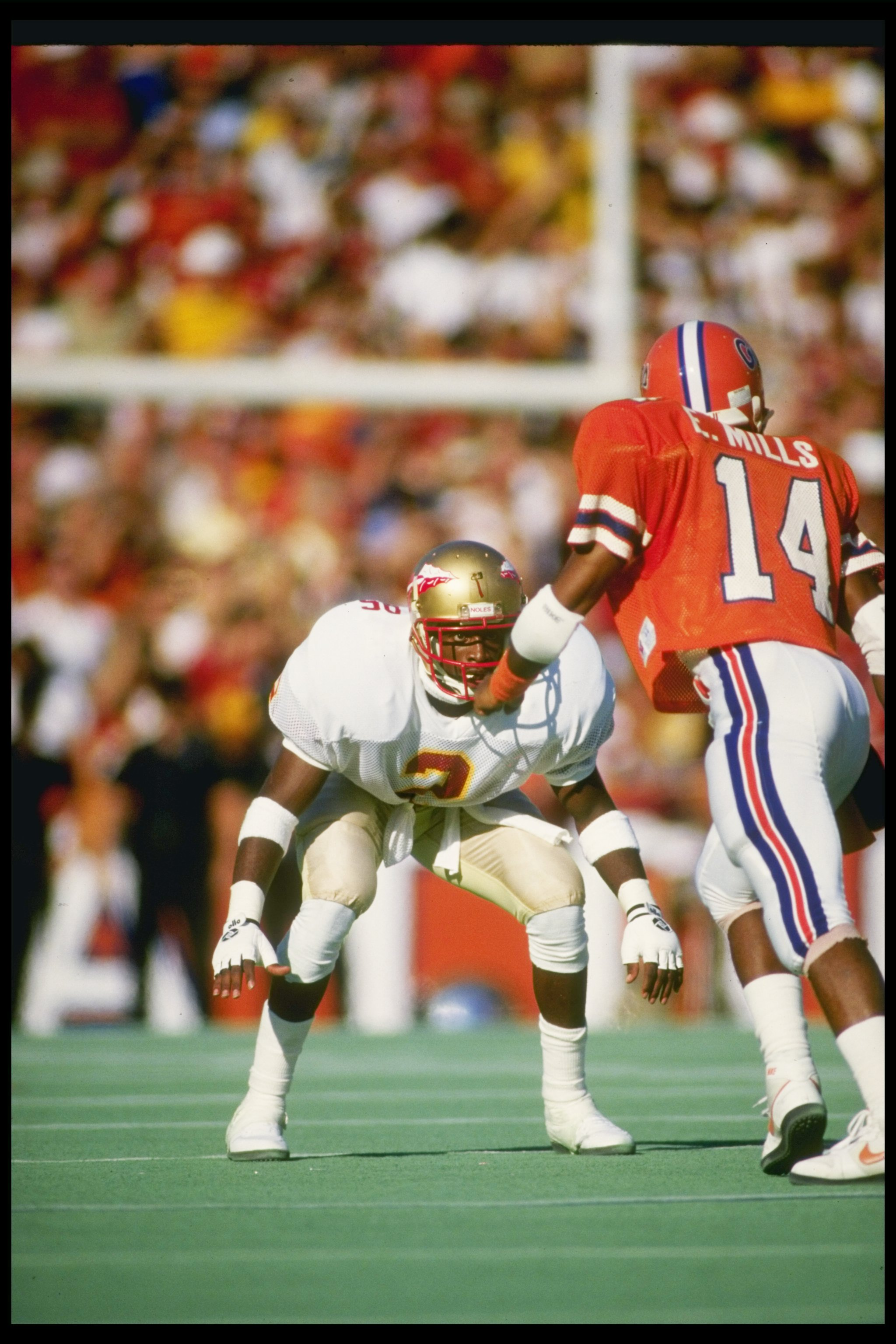 28 Nov 1987  Cornerback Deion Sanders of the Florida State Seminoles covers  wide receiver Ernie 95f314a81
