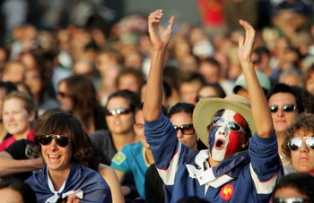 MELBOURNE, AUSTRALIA - JANUARY 27:  French fans show their support in Federation Square during the men's final match between Novak Djokovic of Serbia and Jo-Wilfried Tsonga of France on day fourteen of the Australian Open 2008 on January 27, 2008 in Melbo