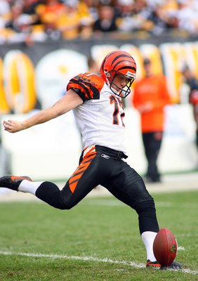 PITTSBURGH - NOVEMBER 15:  Place kicker Shayne Graham #17 of the Cincinnati Bengals moves to kick the ball on the kick-off during their game against the Pittsburgh Steelers at Heinz Field on November 15, 2009 in Pittsburgh, Pennsylvania. The Bengals defea