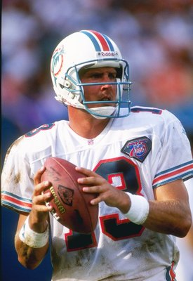 4 Sep 1994:  Quarterback Dan Marino of the Miami Dolphins drops back to pass during a game against the New England Patriots at Joe Robbie Stadium in Miami, Florida.  The Dolphins won the game 39-35. Mandatory Credit: Scott Halleran  /Allsport