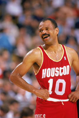 1989:  John Lucas #10 of the Houston Rockets smiles as he takes a rest during a game in the 1989-90 season. NOTE TO USER: User expressly acknowledges and agrees that, by downloading and/or using this Photograph, User is consenting to the terms and conditi