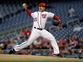 WASHINGTON, DC - APRIL 29:  Starting pitcher Jason Marquis #21 of the Washington Nationals delivers to a San Francisco Giants batter at Nationals Park on April 29, 2011 in Washington, DC.  (Photo by Rob Carr/Getty Images)