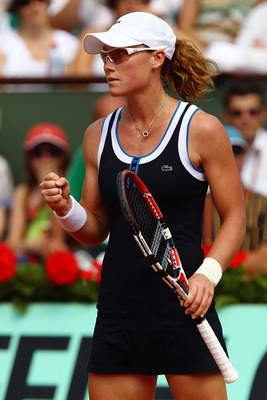Samantha Stosur, in her first Grand Slam Singles final, at the 2010 French Open.
