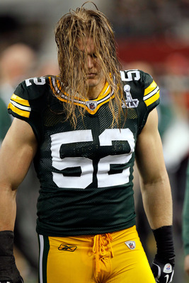 ARLINGTON, TX - FEBRUARY 06:  Clay Matthews #52 of the Green Bay Packers stands on the sideline against the Pittsburgh Steelers during Super Bowl XLV at Cowboys Stadium on February 6, 2011 in Arlington, Texas.  (Photo by Kevin C. Cox/Getty Images)