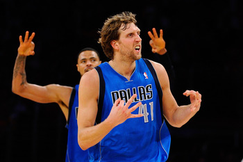LOS ANGELES, CA - MAY 04:  Dirk Nowitzki #41 of the Dallas Mavericks reacts after making a three-pointer in the third quarter while taking on the Los Angeles Lakers in Game Two of the Western Conference Semifinals in the 2011 NBA Playoffs at Staples Cente