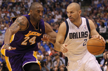 DALLAS, TX - MAY 08:  Guard Jason Kidd #2 of the Dallas Mavericks dribbles the ball past Kobe Bryant #24 of the Los Angeles Lakers in Game Four of the Western Conference Semifinals during the 2011 NBA Playoffs on May 8, 2011 at American Airlines Center in