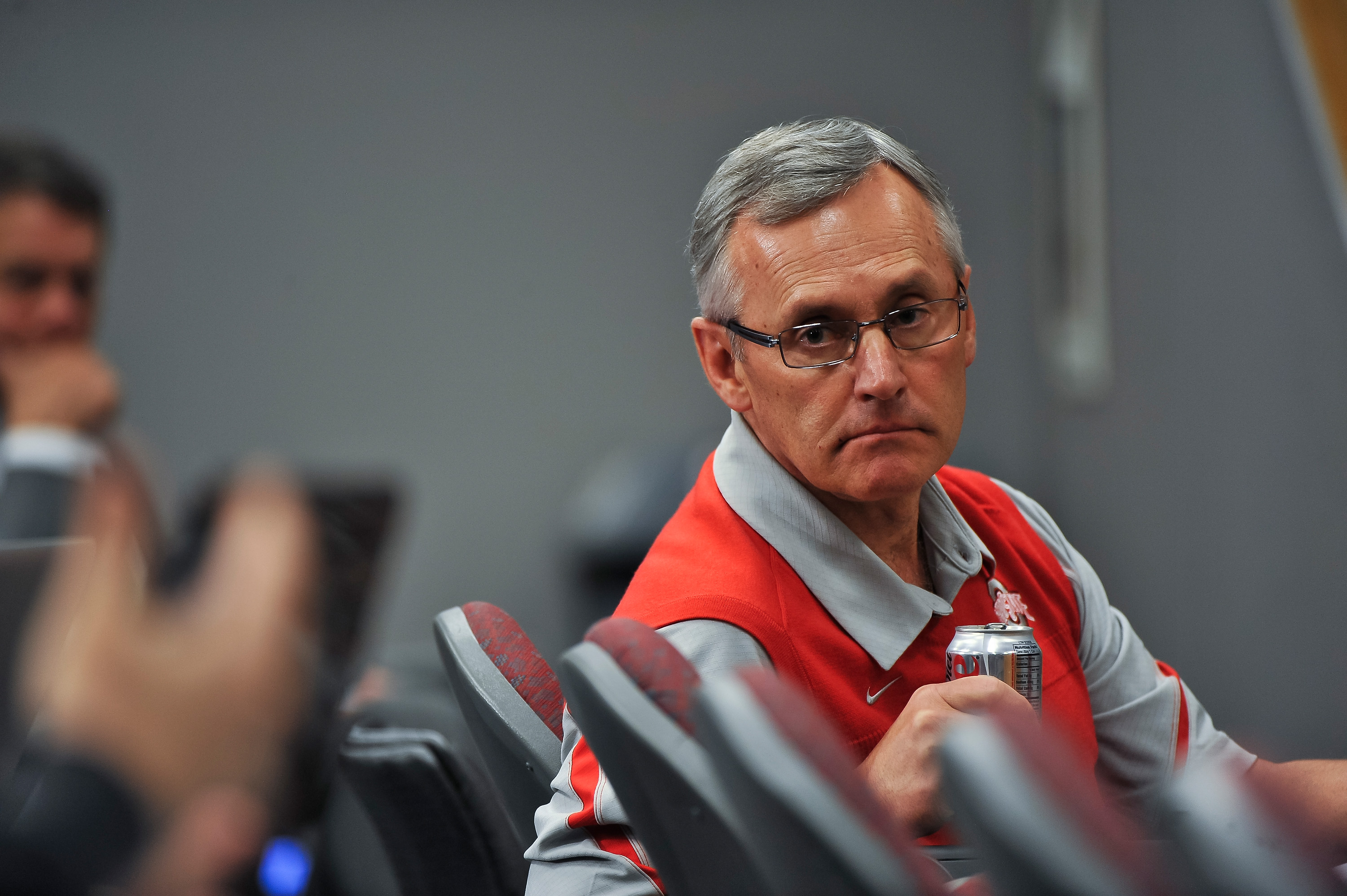 COLUMBUS, OH - MARCH 30:  Head Coach Jim Tressel listens to a member of the media during a press conference before the start of Spring practices at the Woody Hayes Athletic Center at The Ohio State University on March 30, 2011 in Columbus, Ohio. (Photo by
