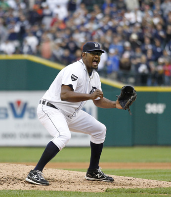 DETROIT, MI - MAY 14: Jose Valverde #46 of the Detroit Tigers celebrates a 3-0 win over the Kansas City Royals at Comerica Park on May 14, 2011 in Detroit, Michigan.  (Photo by Leon Halip/Getty Images)