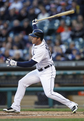 DETROIT, MI - MAY 04: Brennan Boesch #26 of the Detroit Tigers hits a first inning single while playing the New York Yankees at Comerica Park on May 4, 2011 in Detroit, Michigan. Detroit won the game 4-0.(Photo by Gregory Shamus/Getty Images)