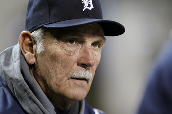 DETROIT, MI - MAY 02: Jim Leyland manager of the Detroit Tigers looks on while playing the New York Yankees at Comerica Park on May 2, 2011 in Detroit, Michigan. New York won the game 5-3. (Photo by Gregory Shamus/Getty Images)