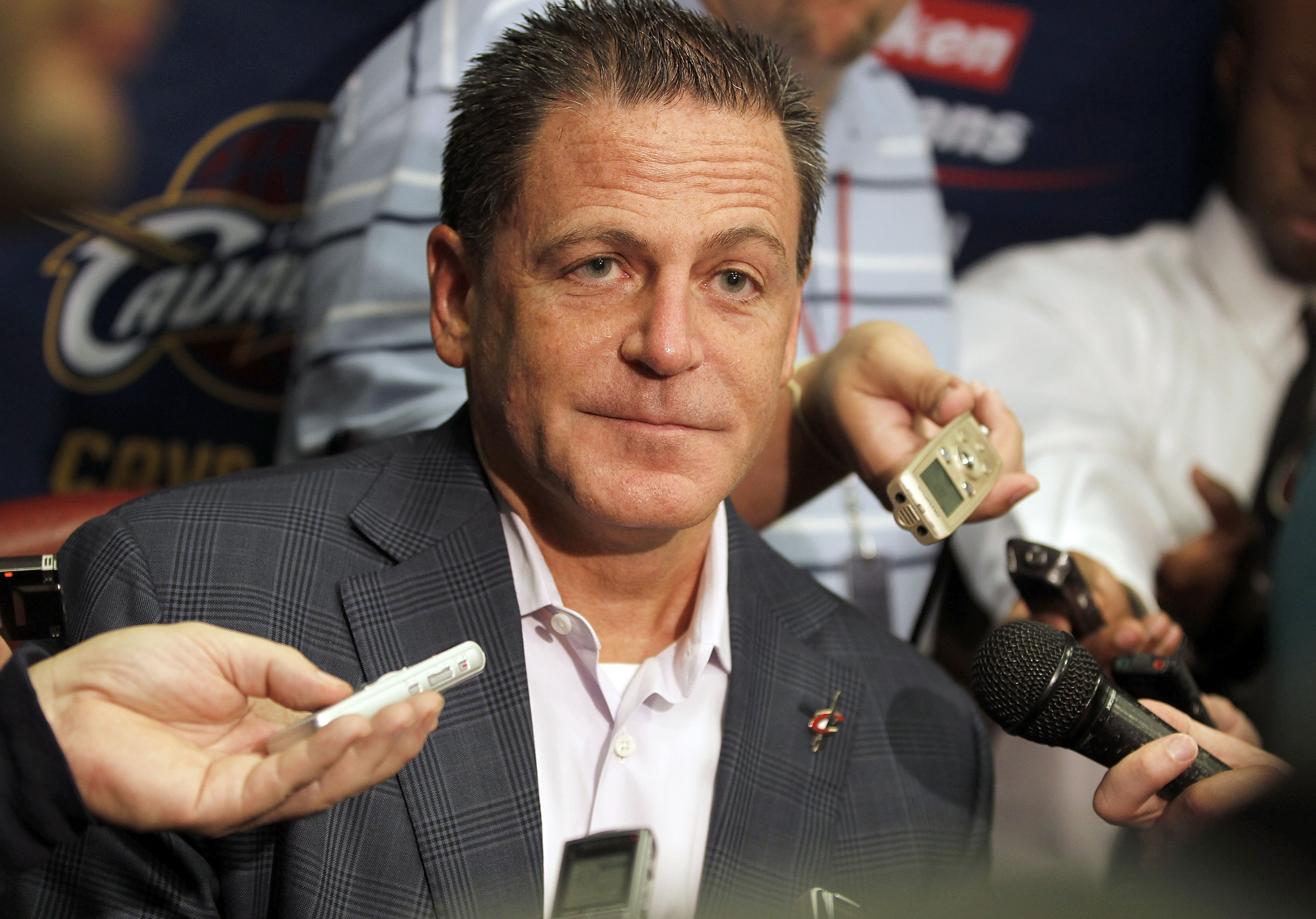 CLEVELAND - OCTOBER 27:  Majority owner Dan Gilbert of the Cleveland Cavaliers talks to the media prior to playing the Boston Celtics in the Cavaliers 2010 home opner at Quicken Loans Arena on October 27, 2010 in Cleveland, Ohio.  NOTE TO USER: User expre