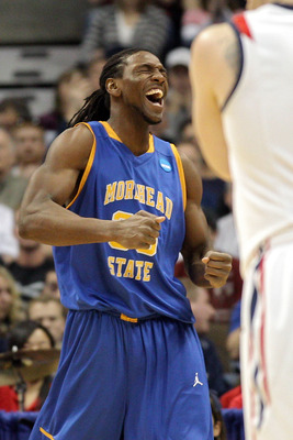 DENVER, CO - MARCH 19:  Kenneth Faried #35 of the Morehead State Eagles dunks reacts after a play against the Richmond Spiders during the third round of the 2011 NCAA men's basketball tournament at Pepsi Center on March 19, 2011 in Denver, Colorado.  (Pho